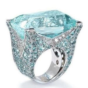 New Women's Large Aquamarine Sterling Silver Ring